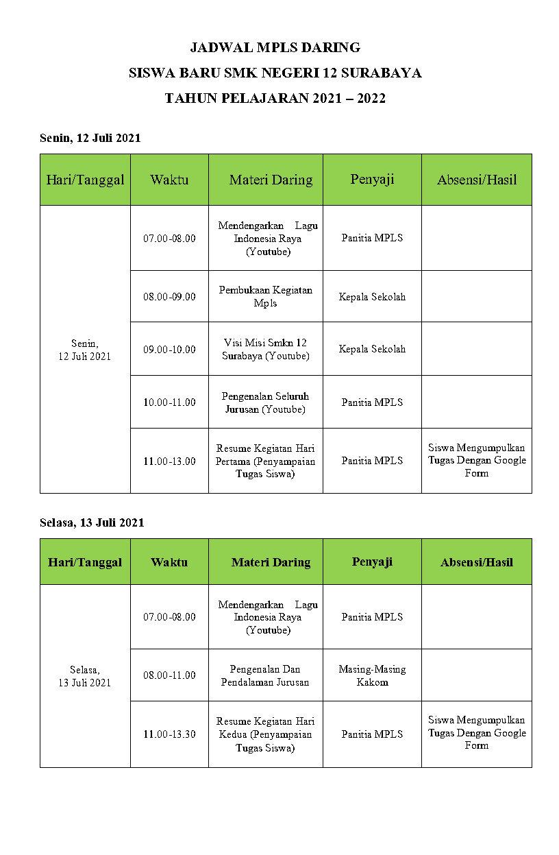 Jadwal Hari 1-2